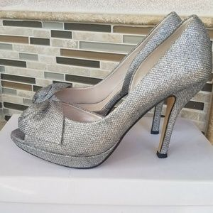 Caparraos Women Shoes Silver Glitter Heels